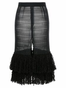 Rokh front slit fringed knit skirt - Black