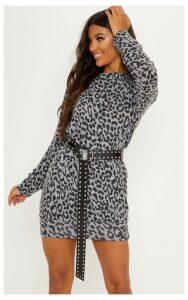 Grey Knitted Leopard Print Jumper Dress, Grey