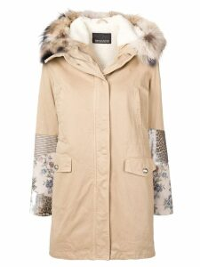 Ermanno Ermanno patch-mesh sleeves coat - Neutrals