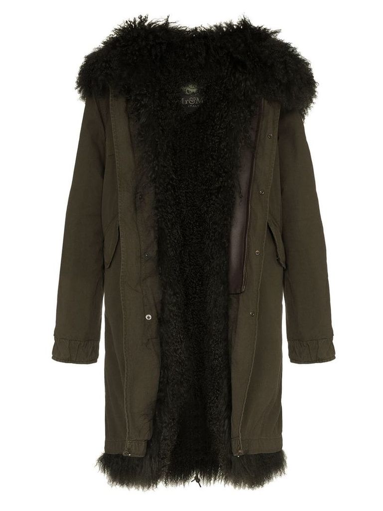 Mr & Mrs Italy shearling lined hooded cotton parka - Green