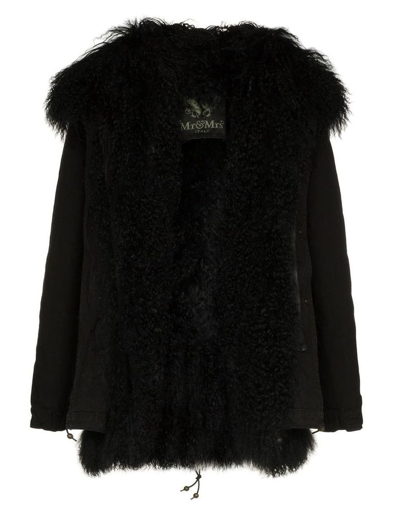Mr & Mrs Italy shearling trimmed hooded parka - Black