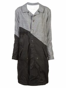 Greg Lauren contrast trench coat - Black