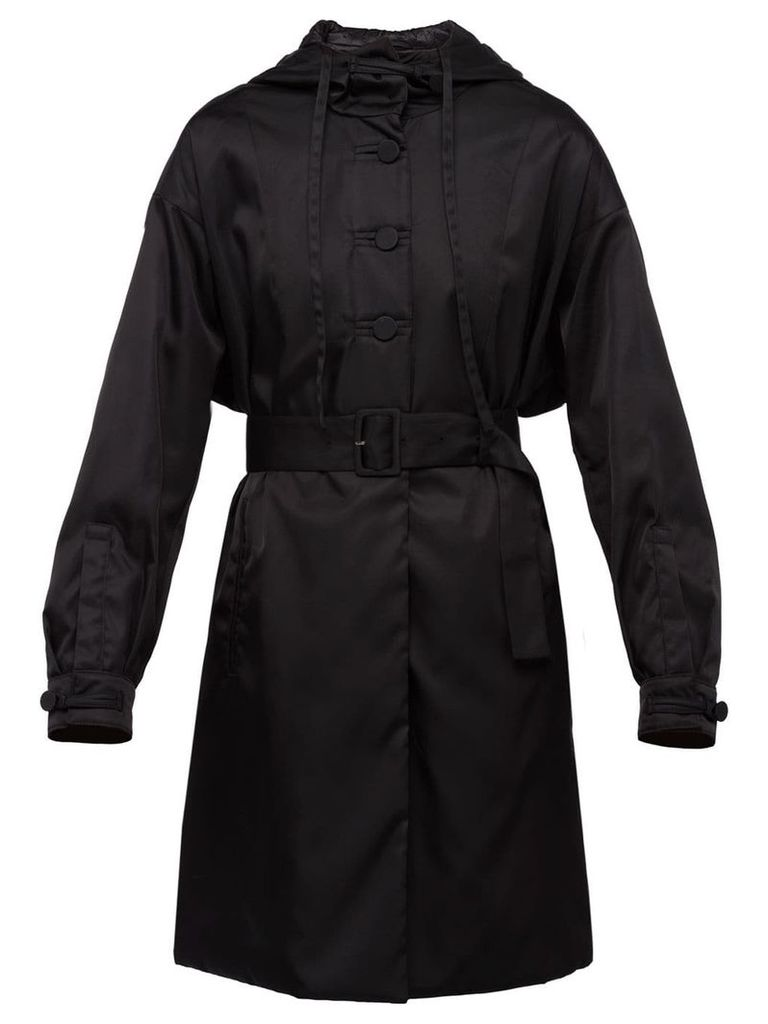 Prada Hooded Trench Coat - Black