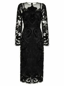 Dolce & Gabbana lace embellished silk midi dress - Black
