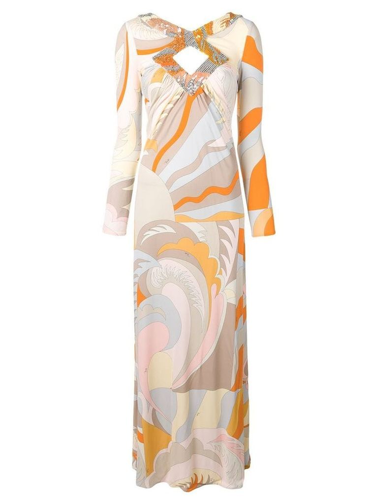 Emilio Pucci Acapulco Print Embroidered Cut-out Maxi Dress - Neutrals