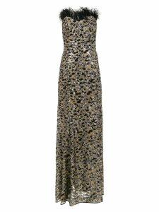 Tufi Duek long party dress with animal print - Black
