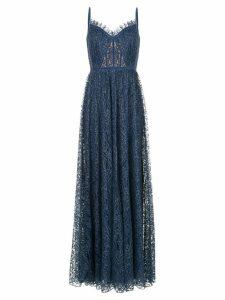 Tadashi Shoji flared fine lace gown - Blue