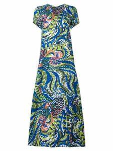 La Doublej long length patterned swing dress - Blue