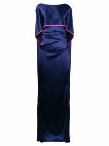 Talbot Runhof sheen long cape dress - Blue