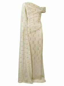 Talbot Runhof metallic draped gown - Neutrals