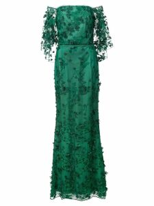 Marchesa Notte floral off-the-shoulder dress - Green