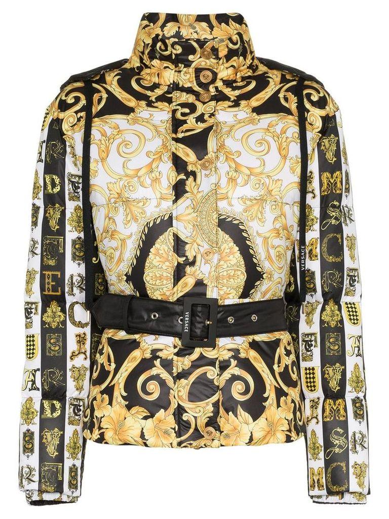 Versace Baroque print hooded puffer jacket - Black