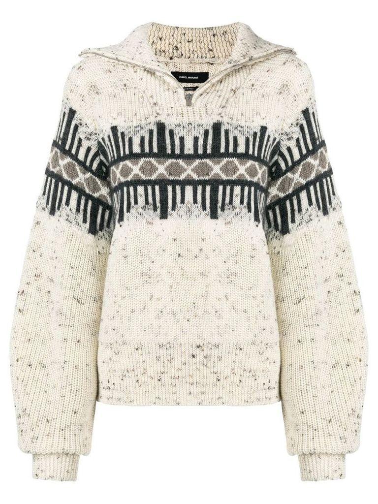 Isabel Marant balloon sleeve zipped sweater - Neutrals