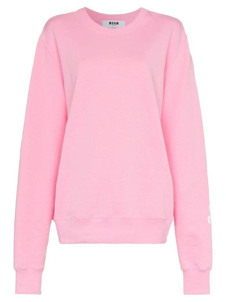 MSGM logo print cotton jumper - Pink