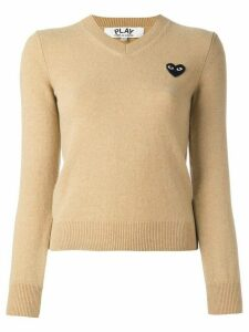 Comme Des Garçons Play embroidered heart jumper - Neutrals