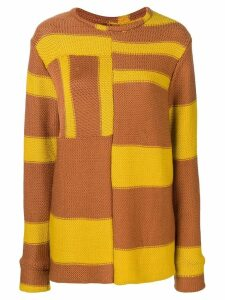 Eckhaus Latta contrasting panels jumper - Brown