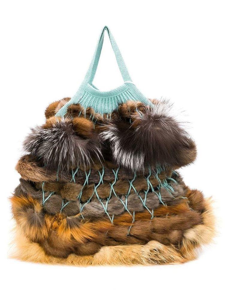 Liska Danak fur trimmed bag - Brown
