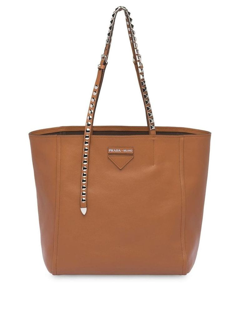 Prada studded strap tote bag - Brown