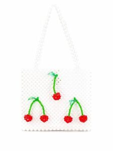 Susan Alexandra cherry beaded bag - White