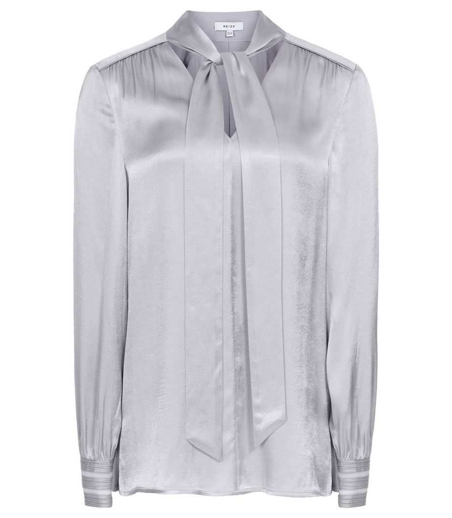 Reiss Olivia - Satin Neck Tie Blouse in Lilac, Womens, Size 14