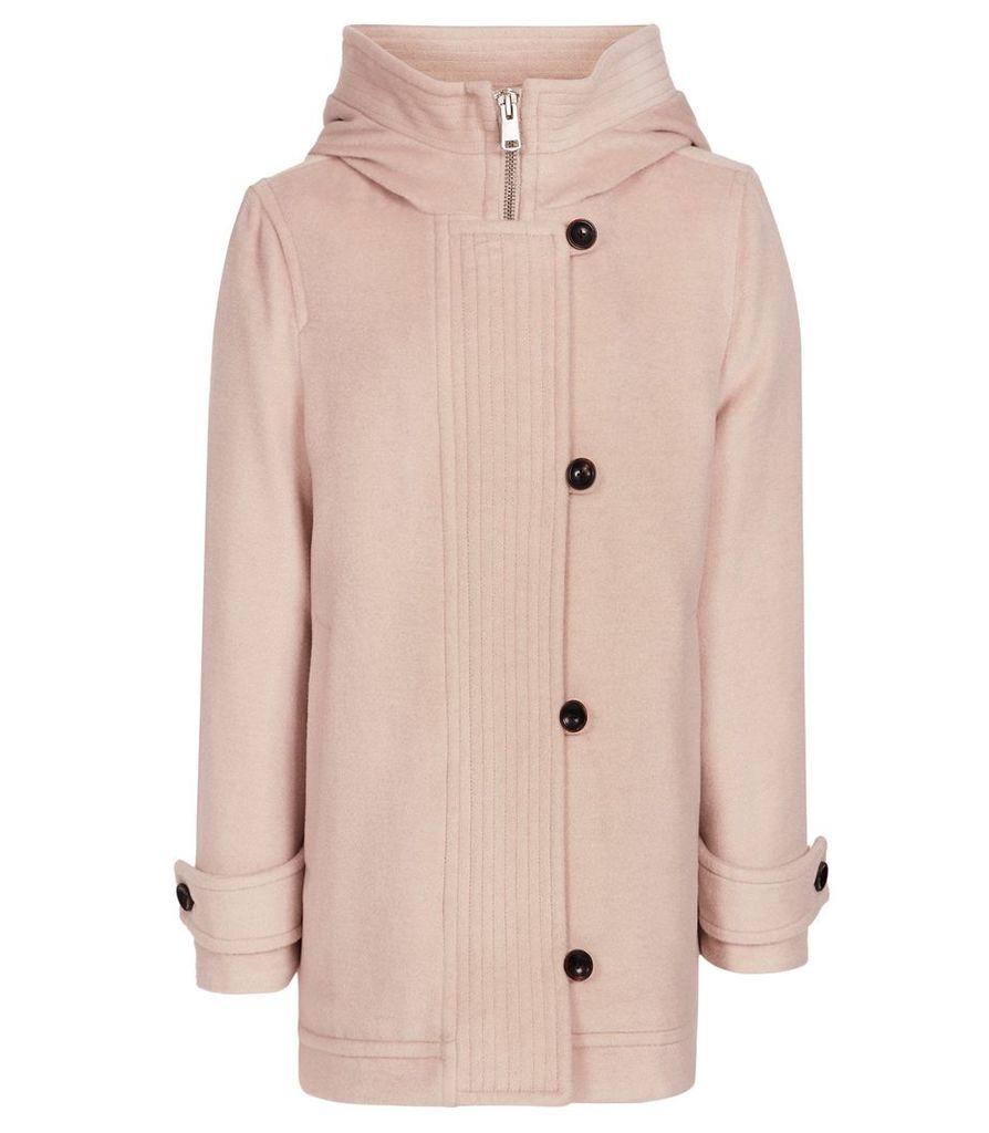 Reiss Marlowe - Hooded Coat in Blush Pink, Womens, Size 16