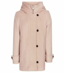 Reiss Marlowe - Hooded Coat in Blush Pink, Womens, Size 16