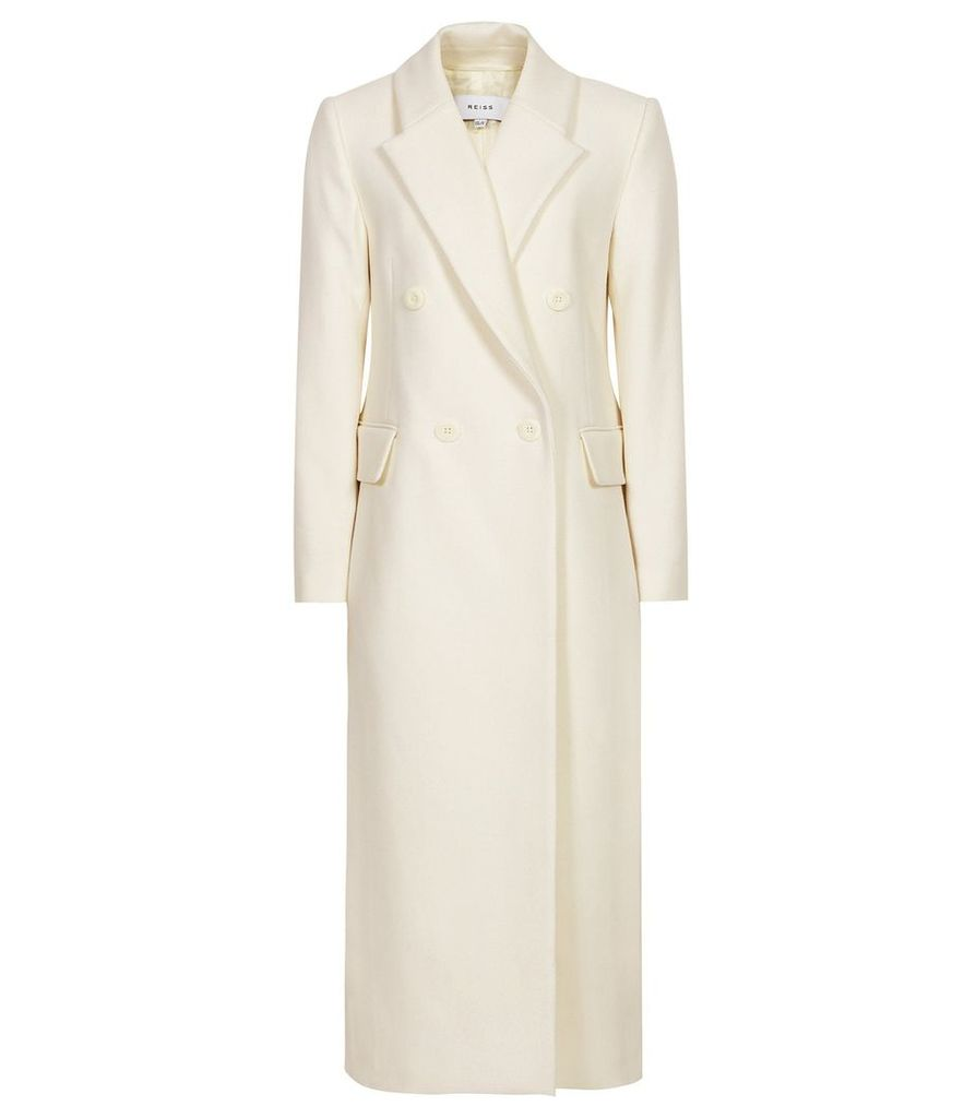 Reiss Grayson - Long Line Double Breasted Coat in White, Womens, Size 14