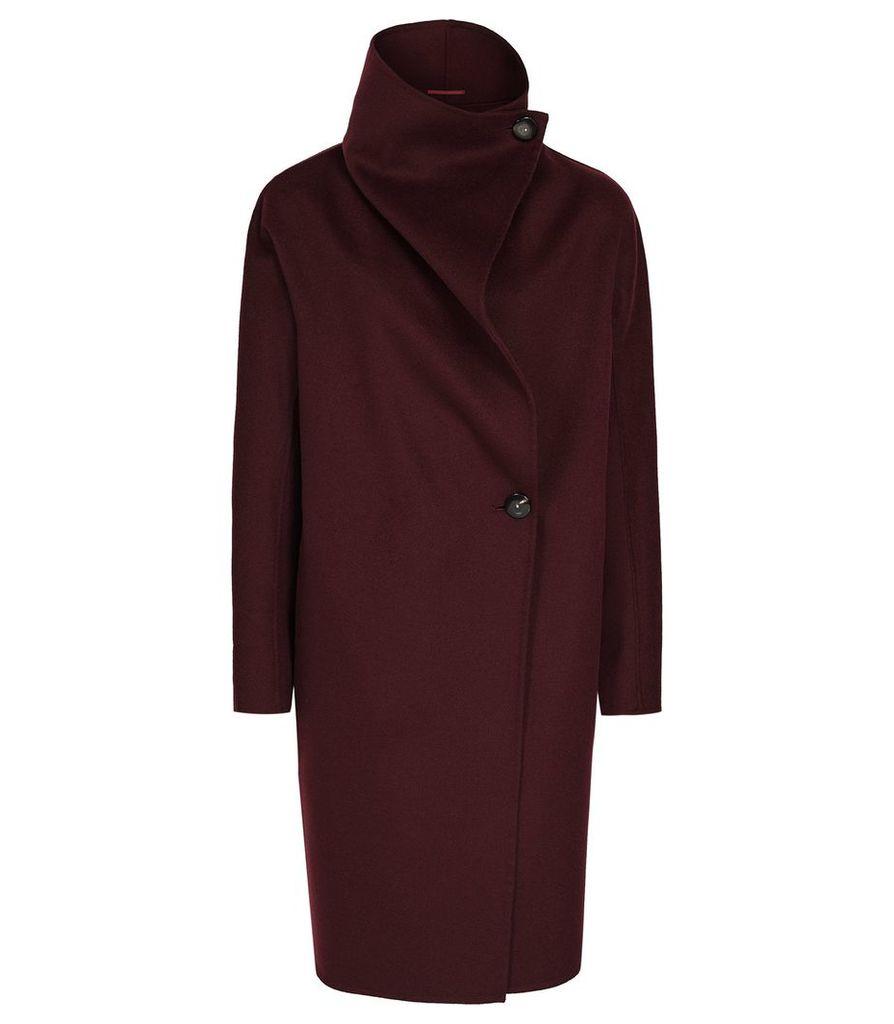 Reiss Antonia - Wrap Collar Coat in Berry, Womens, Size XL