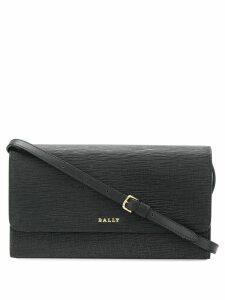 Bally foldover logo crossbody bag - Black