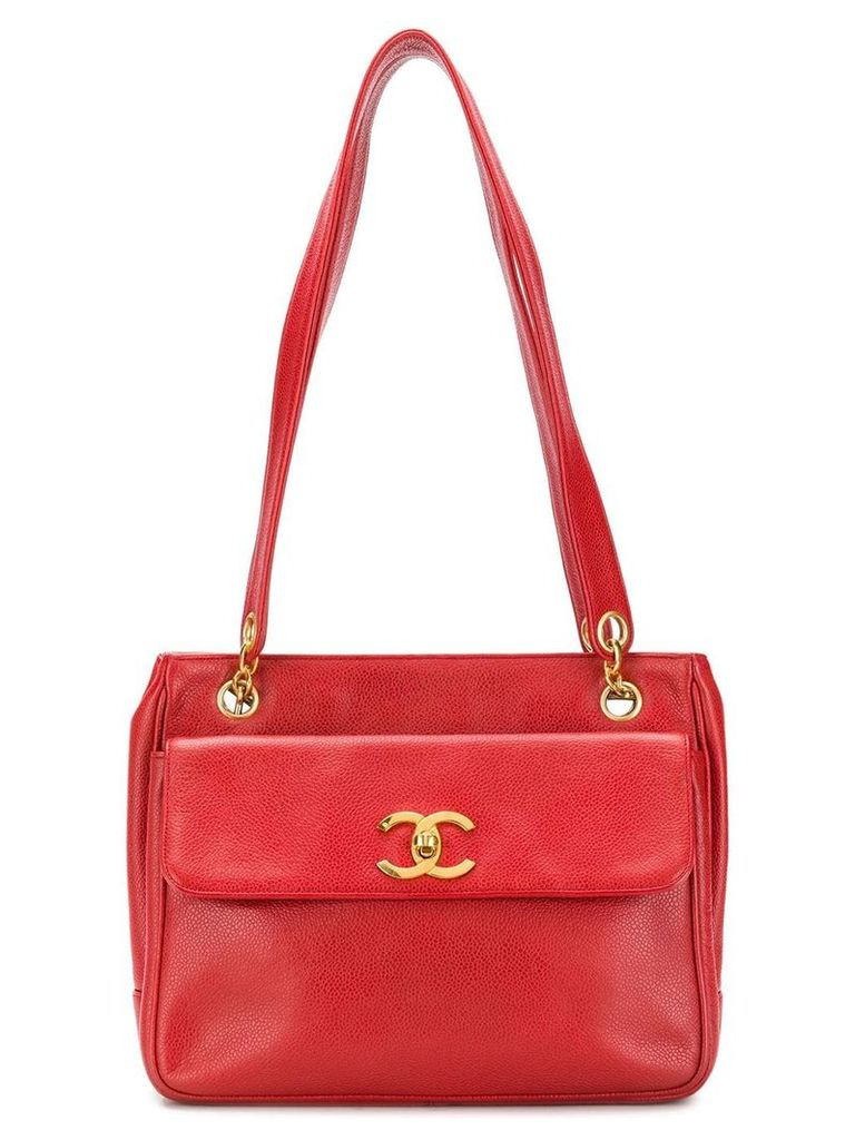 Chanel Vintage front flap shoulder bag - Red