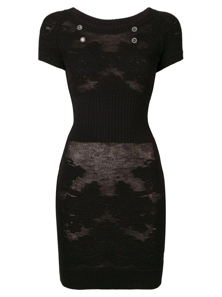 Chanel Vintage sheer knitted dress - Black