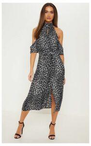 Grey Leopard Print Cold Shoulder Midi Dress, Grey