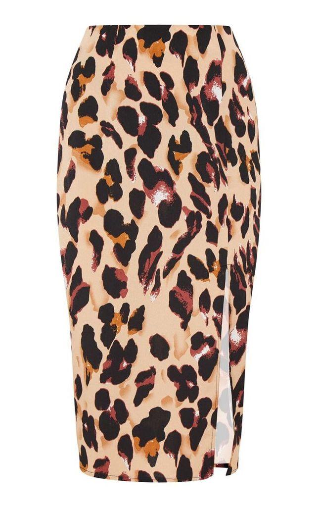 Tan Leopard Printed Midi Skirt, Brown