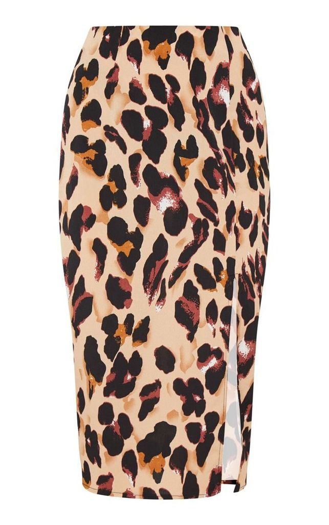 Tan Leopard Printed Midi Skirt, Brown
