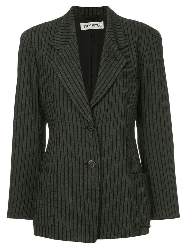 Issey Miyake Pre-Owned pinstripe fitted blazer - Grey