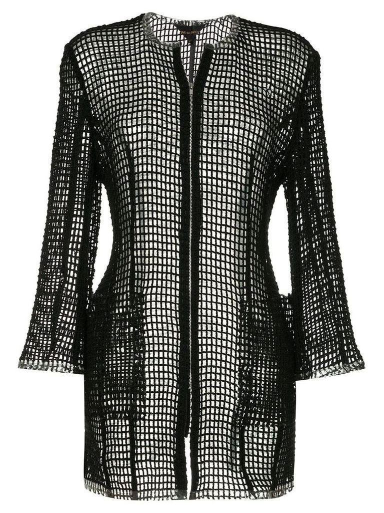 Comme Des Garçons Vintage open knit zipped jacket - Black