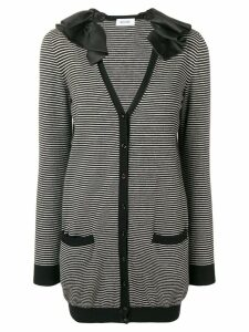 Moschino Pre-Owned ruffled neck striped jacket - Black