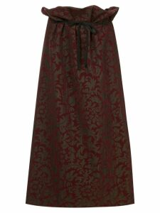 Comme Des Garçons Pre-Owned floral print pinstripe skirt - Red