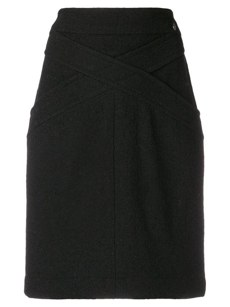 Chanel Vintage crisscross detail fitted skirt - Black