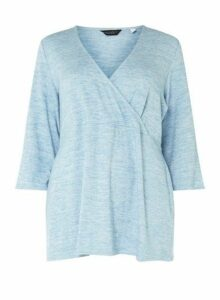 Womens **Dp Curve Blue Brushed Wrap Top- Blue, Blue