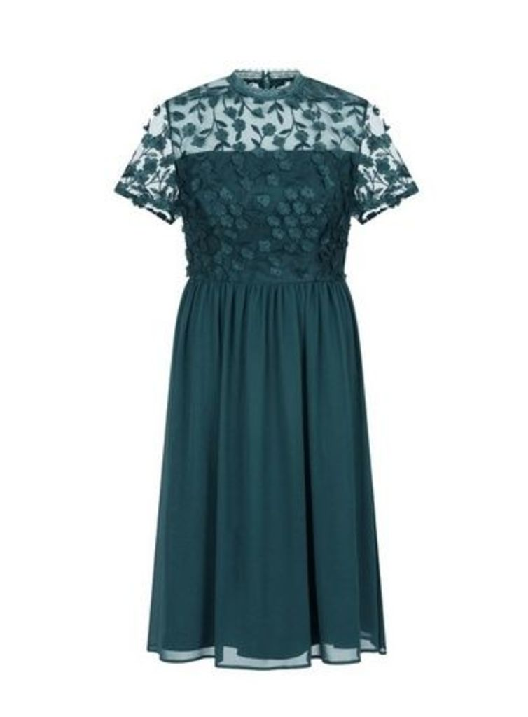 **Chi Chi London Emerald Floral Midi Dress, Green