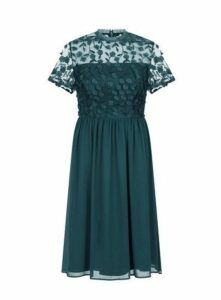 **Chi Chi London Emerald Floral Midi Dress, Green