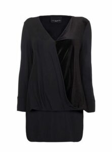 **Live Unlimited Black Velvet Draped Top, Black