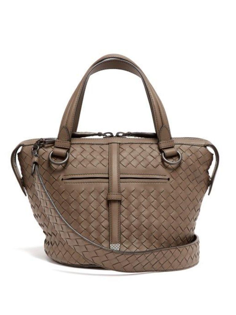 Bottega Veneta - Tambura Small Intrecciato Leather Bag - Womens - Grey