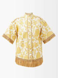 Khokho - Lindi Minaudière Leather Trimmed Basket Bag - Womens - Dark Green Multi