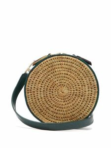 Khokho - Sindi Leather Trimmed Basket Bag - Womens - Dark Green Multi