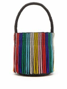 Sensi Studio - Tasseled Toquilla Straw Mini Bucket Bag - Womens - Black Multi