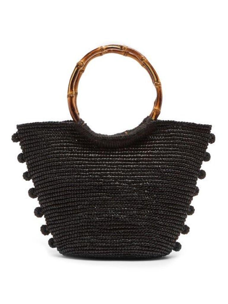 Sensi Studio - Pompom Embellished Toquilla Straw Basket Bag - Womens - Black