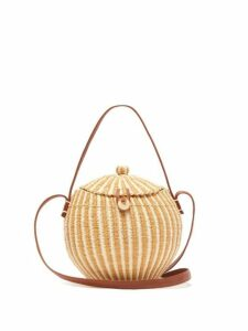 Sensi Studio - Leather And Toquilla Straw Basket Bag - Womens - Brown Multi