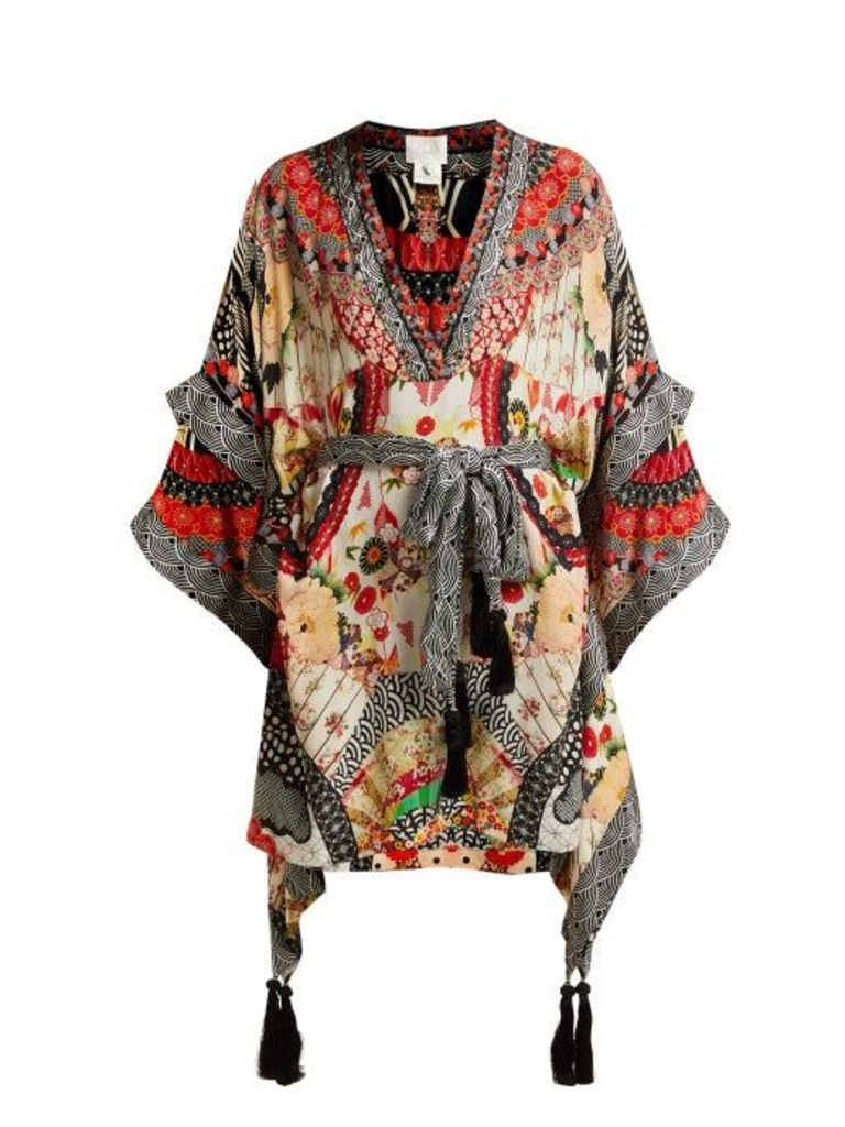 Camilla - Belted Floral Print Silk Kimono Dress - Womens - Red Multi